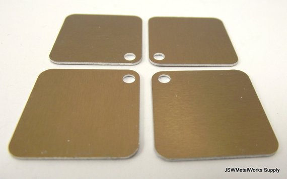 20 Bronze Aluminum Square Stamping Tags Bronze Anodized Aluminum Dog Tags Square Blank Stamping Ta Aluminum Tags Quick Cleaning