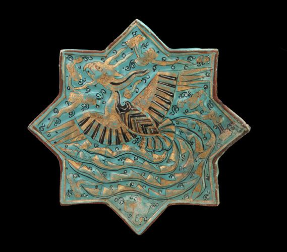 Tile - 14th century, Il-khanid period -!Stone-paste painted and gilded under and over glaze - Takht-i Sulayman, Iran