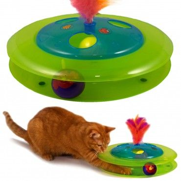 Birdie Chase Cat Toy Ball Chirps As It Spins Around The Track Cat Toys Cat Supplies Kittens