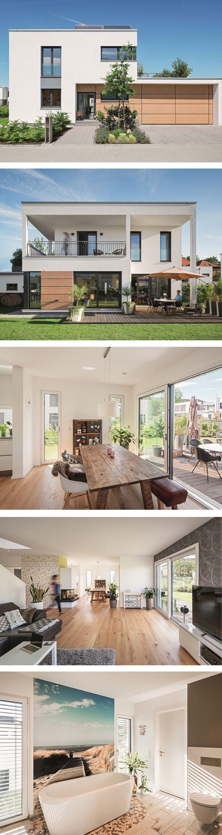 Moderne Stadtvilla mit Flachdach im Bauhausstil – Haus lichtdurchfluteter Würfel von … – Sarah, …   – Fassade