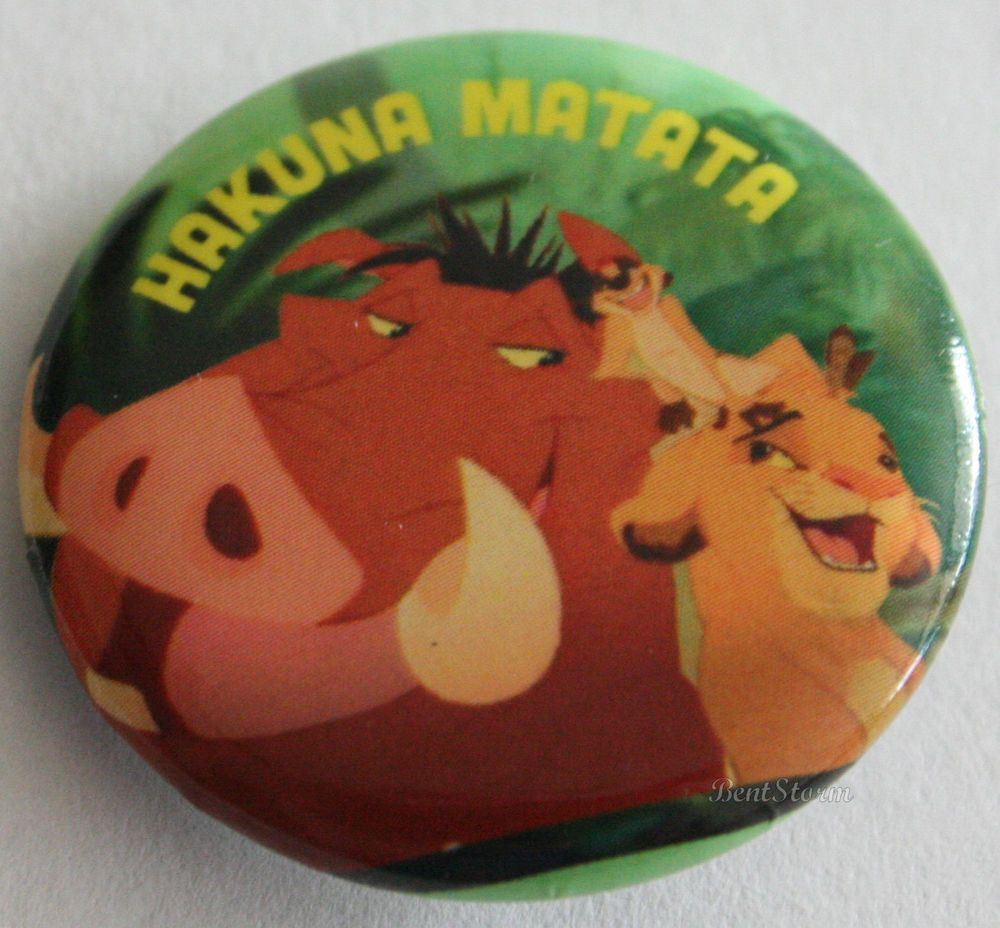 "Disney Lion King Trio Simba Pumbaa Timon Hakuna Matata 1 1/4""  Button Pin Back  #Disney"
