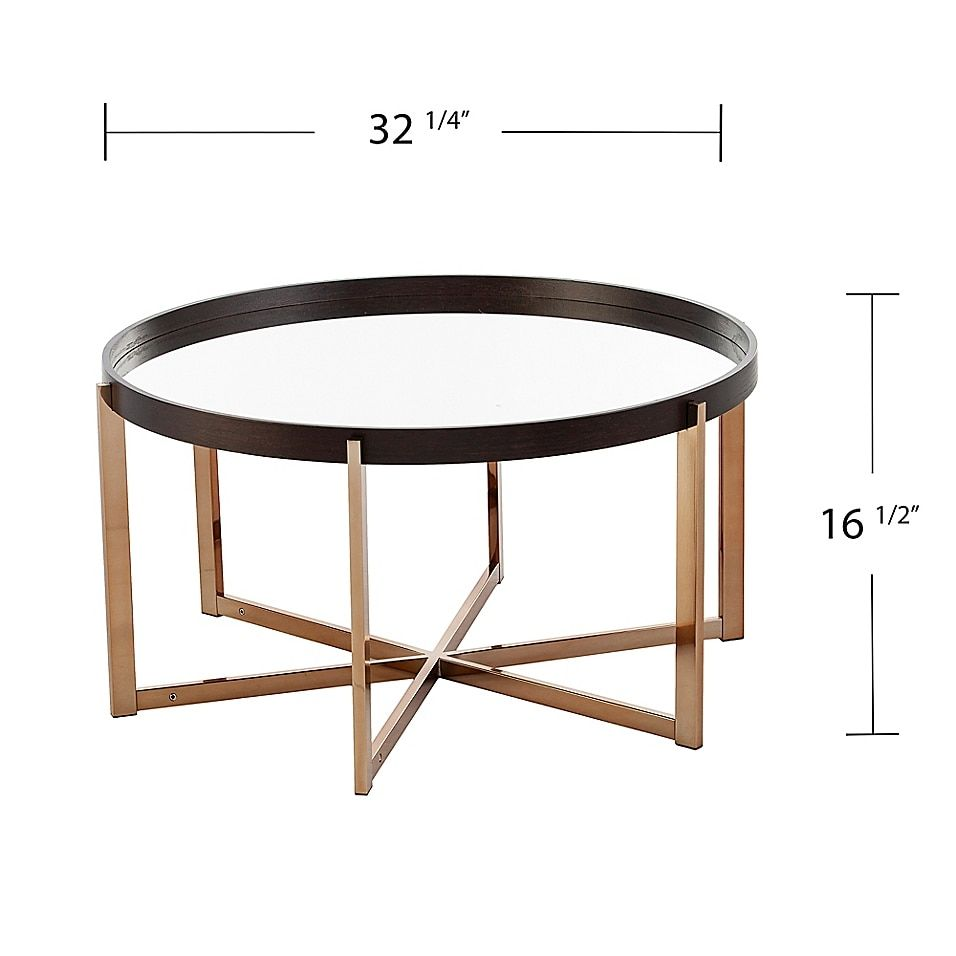 Southern Enterprises Marlieva 32 25 Inch Mirrored Top Cocktail Table In Ebony Champagne Bed Bath Beyond In 2021 Coffee Table Circular Coffee Table Round Cocktail Tables [ 956 x 956 Pixel ]