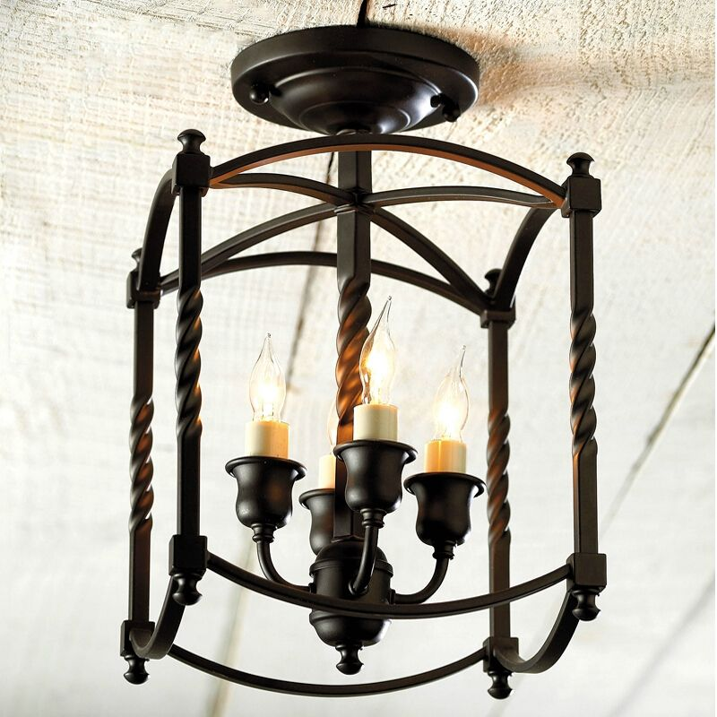 American Country Style Light Black Iron Flush Mount Ceiling Light In