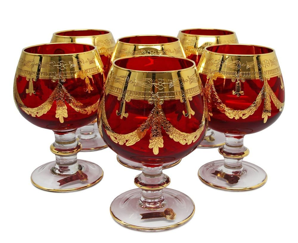 Set Of 6 Red Crystal Brandy Glasses 24k Gold Hand Decorated Vintage Italy Crystals Vintage Italy Hand Decorated