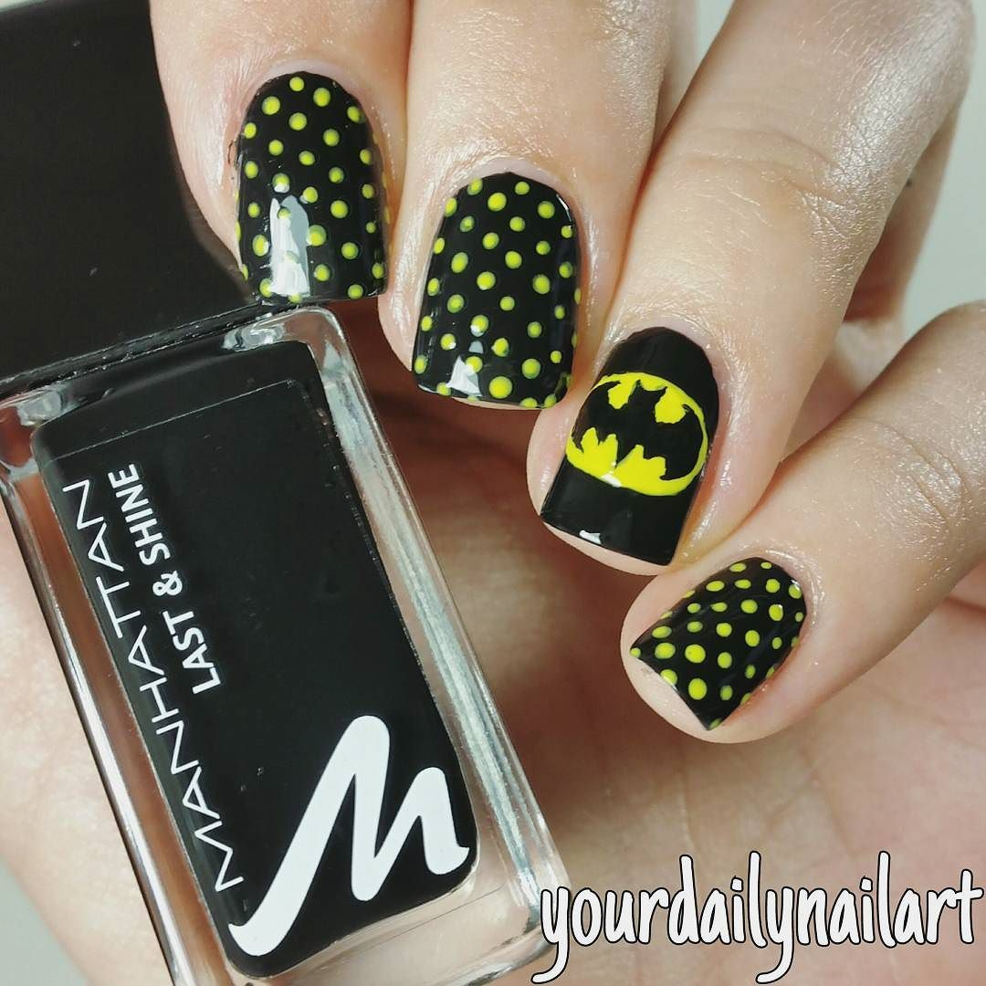 Instagram post by Martha 💅 • Apr 22, 2016 at 10:42am UTC. Batman Nail Art  ... - Pin By Rebecca Vergith On Nail Design Pinterest Batman Nails