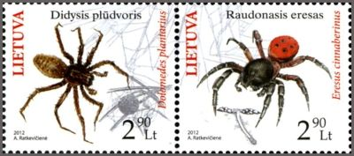 Endangered Spiders on Lithuanian Postage Stamps.