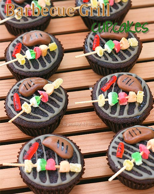 Barbecue grill cupcakes i need to make these for for Cupcake themed kitchen ideas