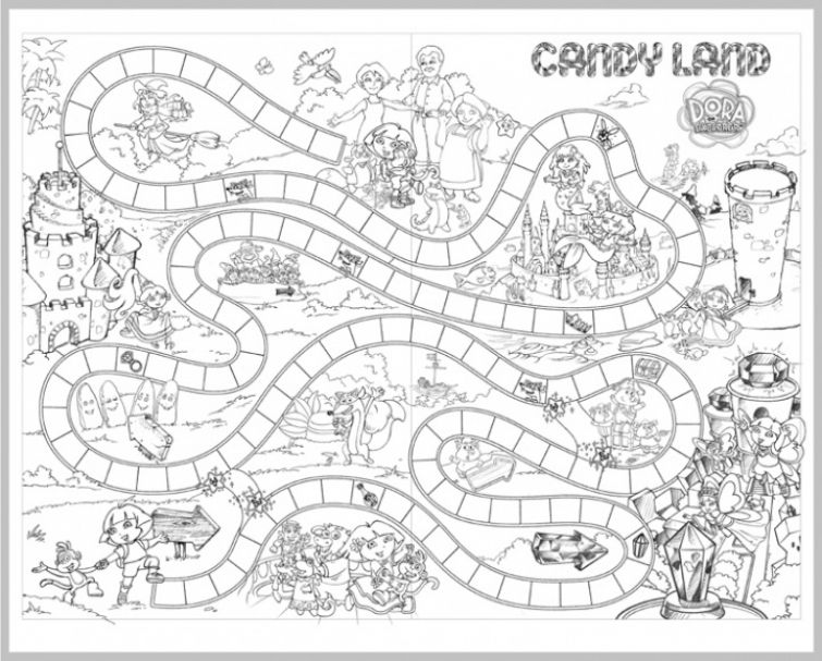 Candyland Board Game Coloring Page For Children Letscolorit Com Candyland Board Game Coloring Games For Kids Free Games For Kids