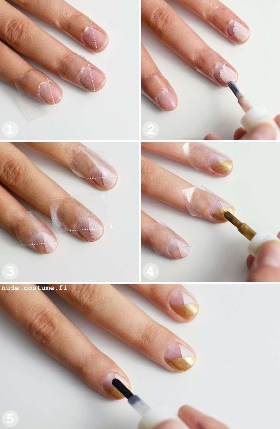 Tutorial: Graphic Golden Nails nude.costume.fi