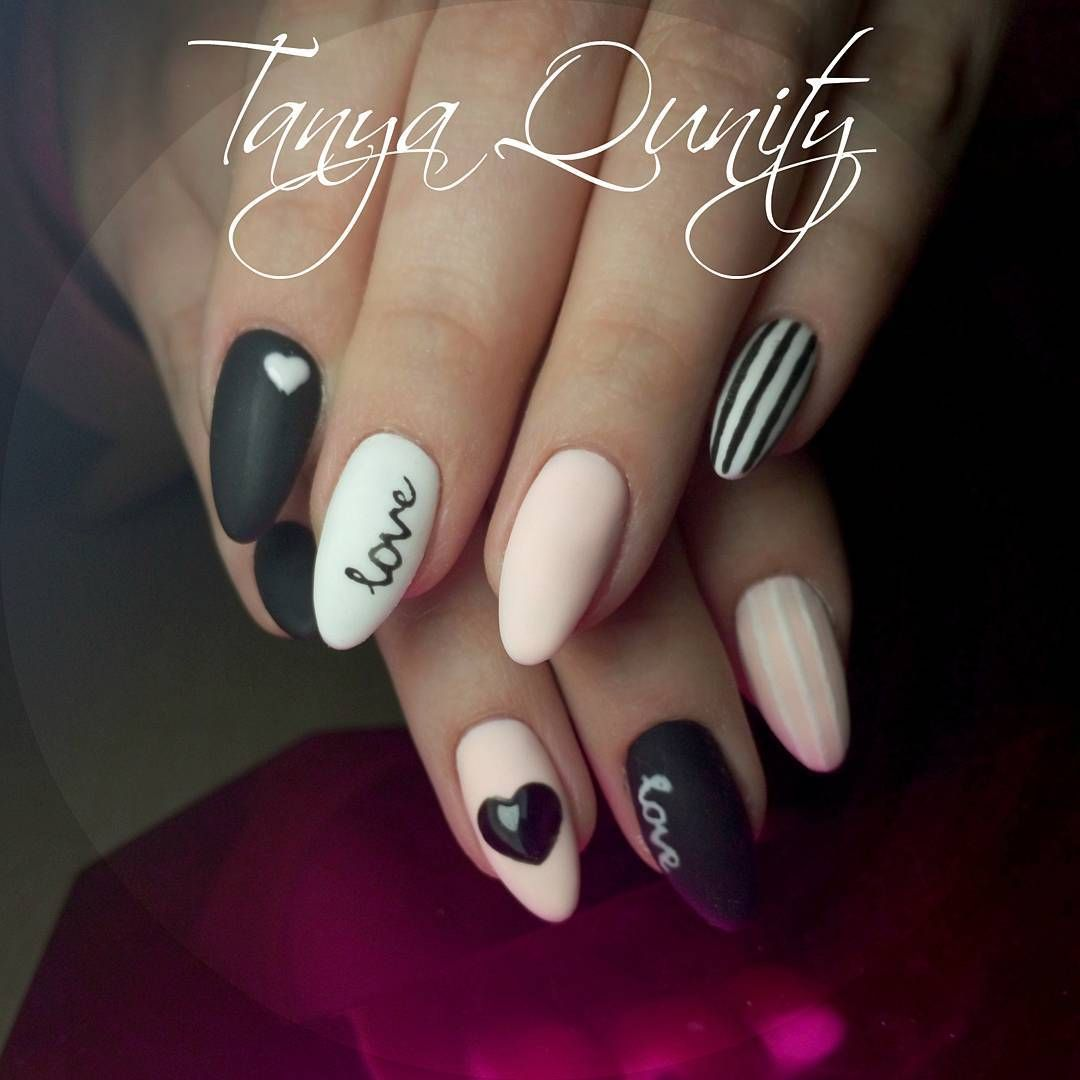tanyaqunity_nails Instagram • heart nail design, heart nail art ...