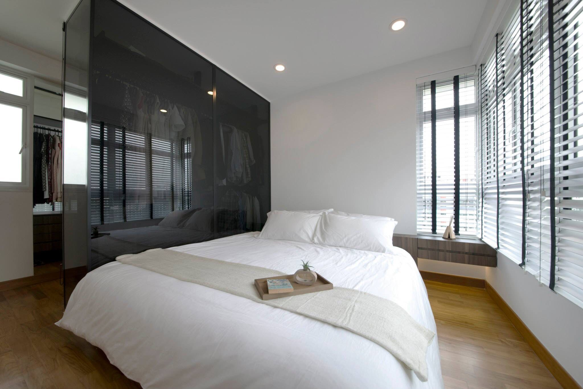 Master bedroom view with walk in wardrobe for the roof for Home decor 3 room flat