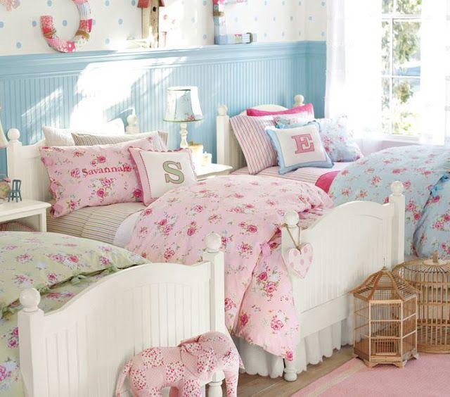 Cute Pottery Barn girls' room, twin beds.