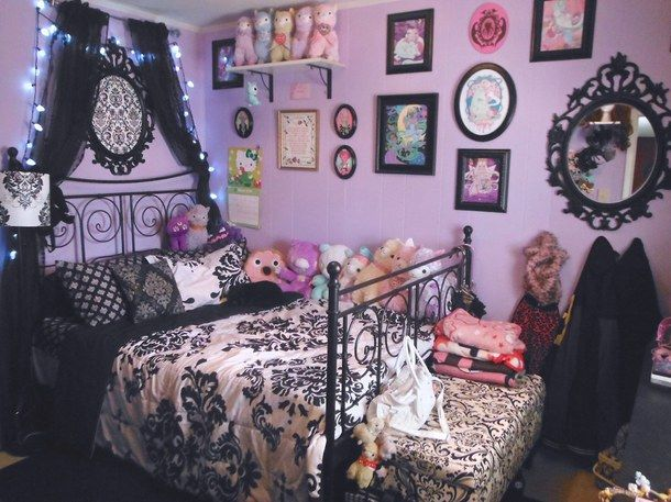 beautiful bed cute decor gothic grunge home kawaii love pastel goth pink purple room. Black Bedroom Furniture Sets. Home Design Ideas