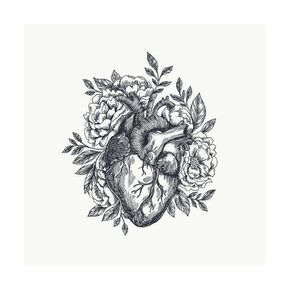 'Valentines Day Card. Anatomical Heart with Flowers. Vector Illustration' Art Print - adehoidar | Art.com