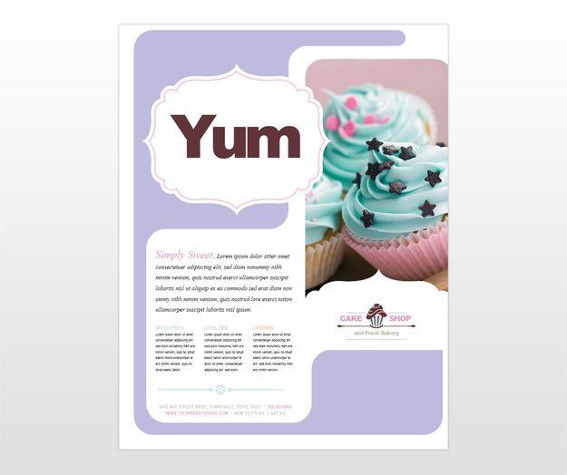 Bakery flyer template bakery cake restaurant flyer for Bakery brochure template