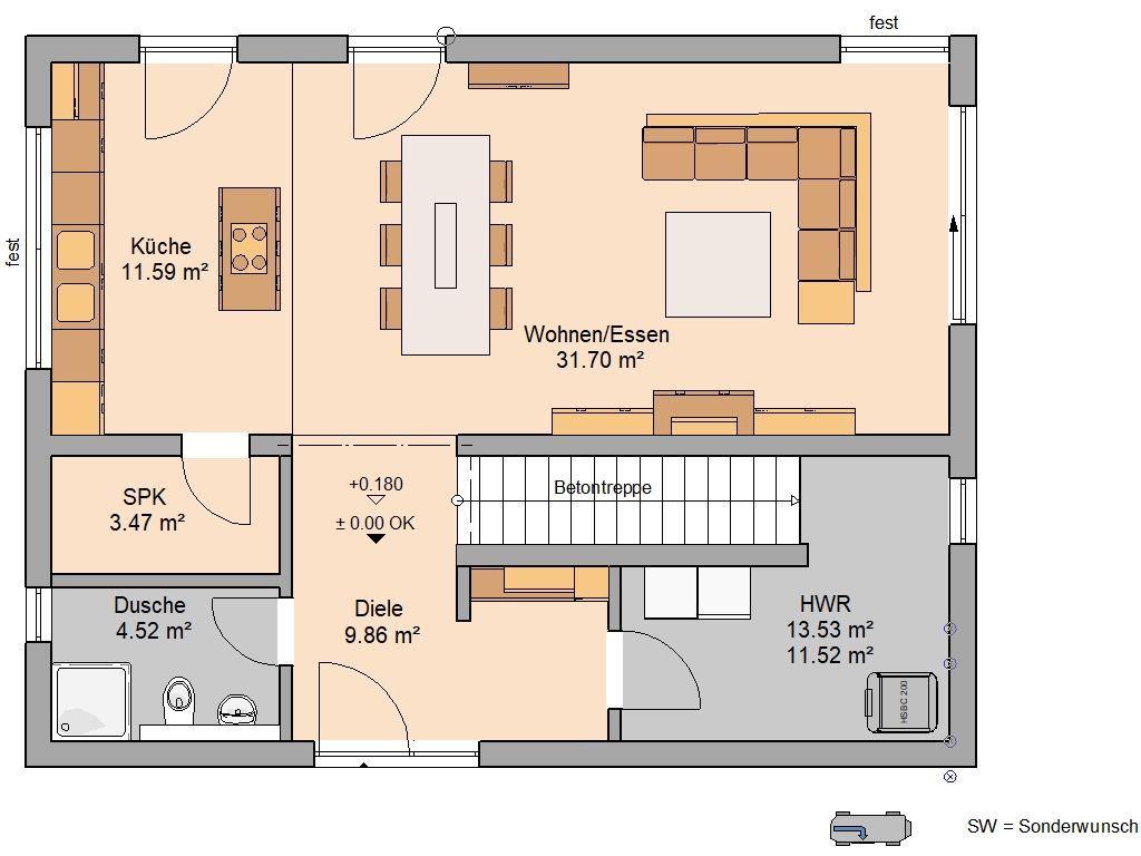 Bauhaus Grundriss 142 m² Erdgeschos…