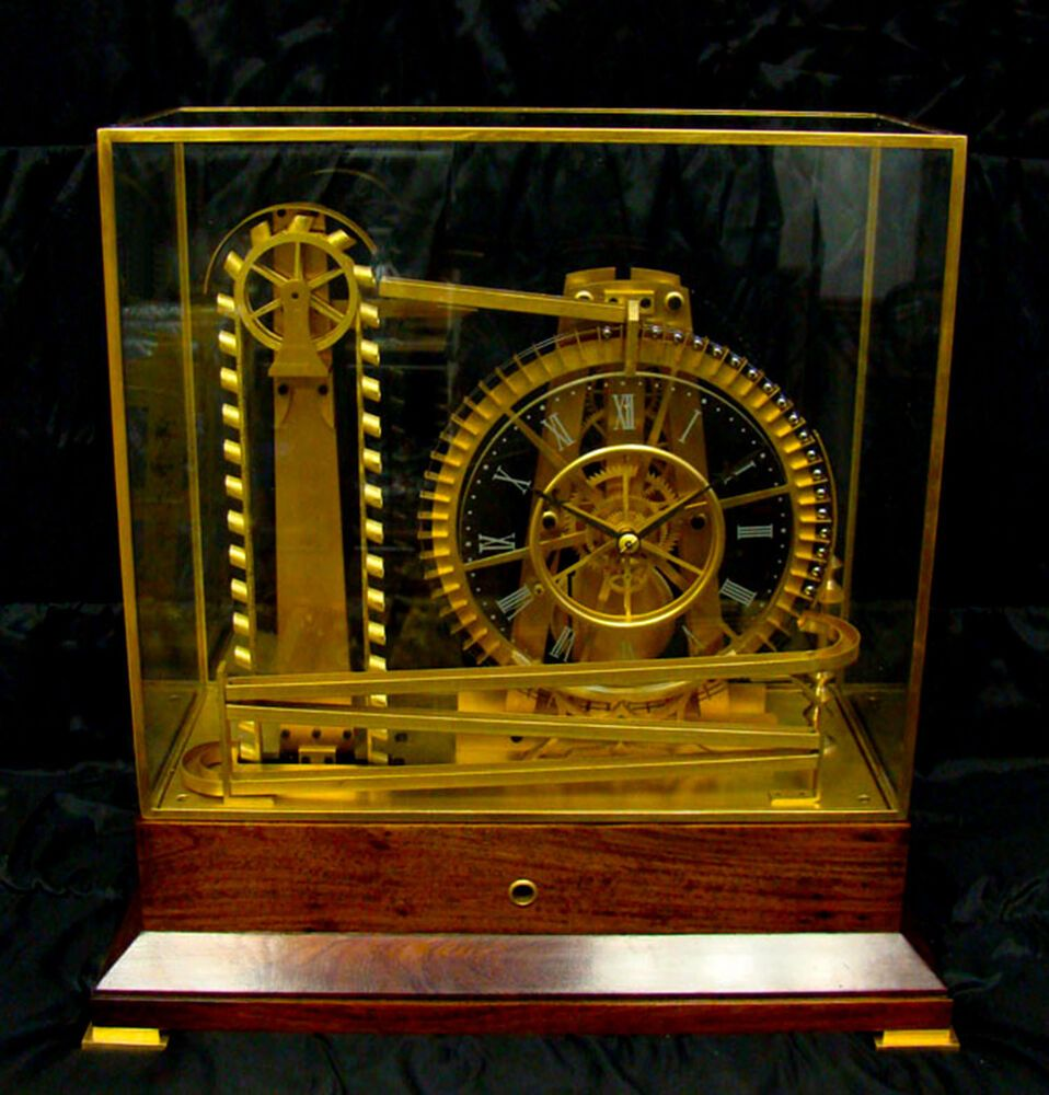 French Style Solid Rosewood Base 8 Day Waterwheel Industrial Ball Bearing Clock Clock Water Wheel Cool Clocks