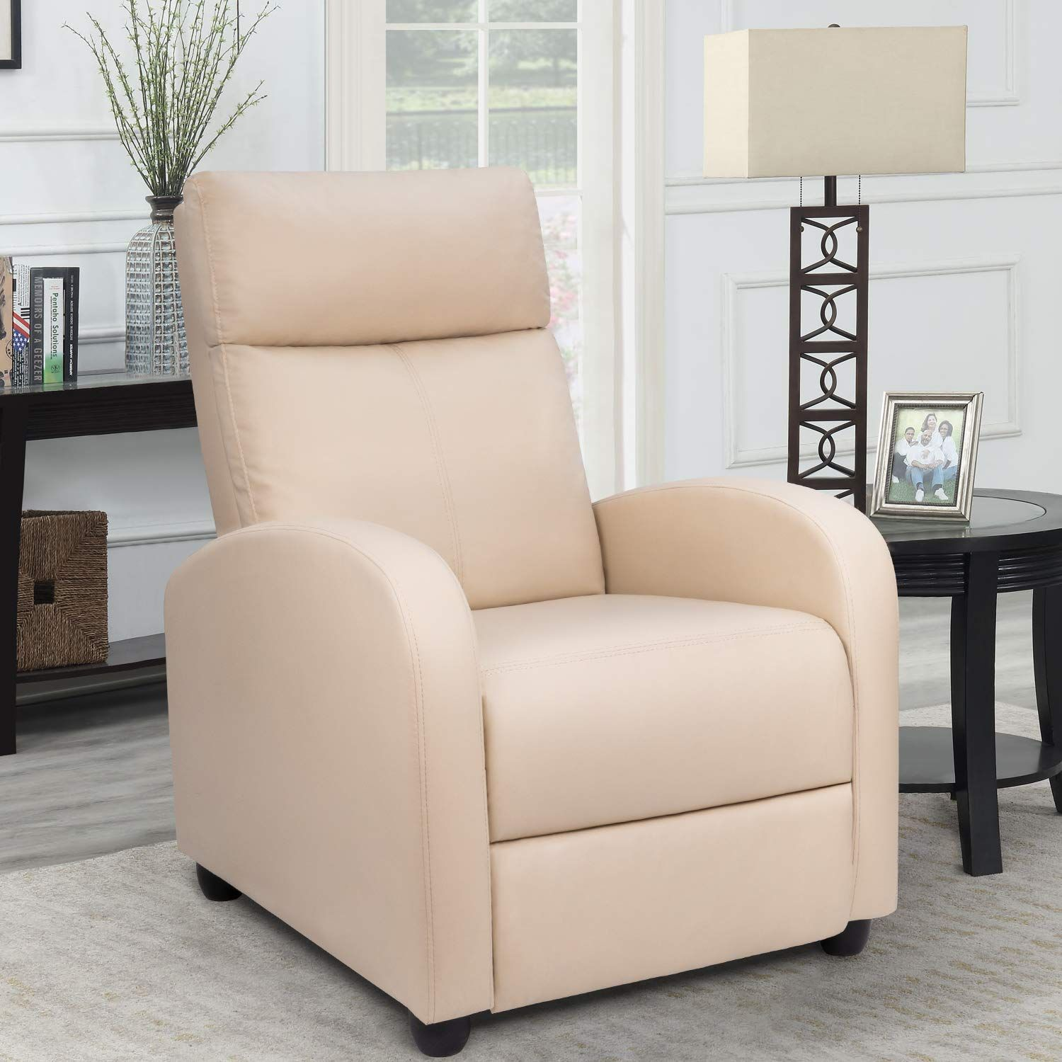 Homall Single Recliner Chair Padded Seat Pu Leather Living Room Sofa Recliner Modern Recliner Leather Sofa Living Room Living Room Leather Home Theater Seating