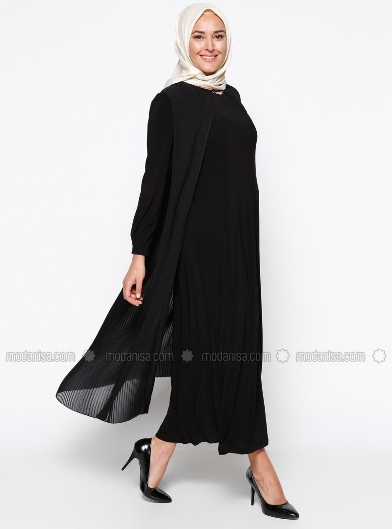 184b5a9ee014 Black - Fully Lined - Crew neck - Muslim Plus Size Evening Dress - Armine
