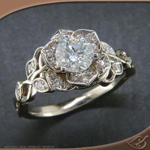 Diamond lotus engagement ring notthinking 10 year anniversary