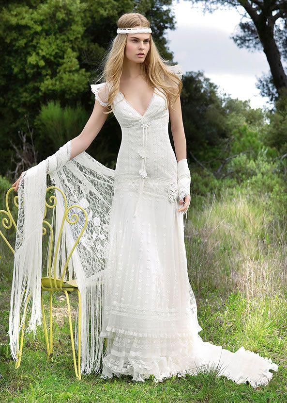 Vestido de novia talla 38 en tonos marfil,tejido en seda con ...