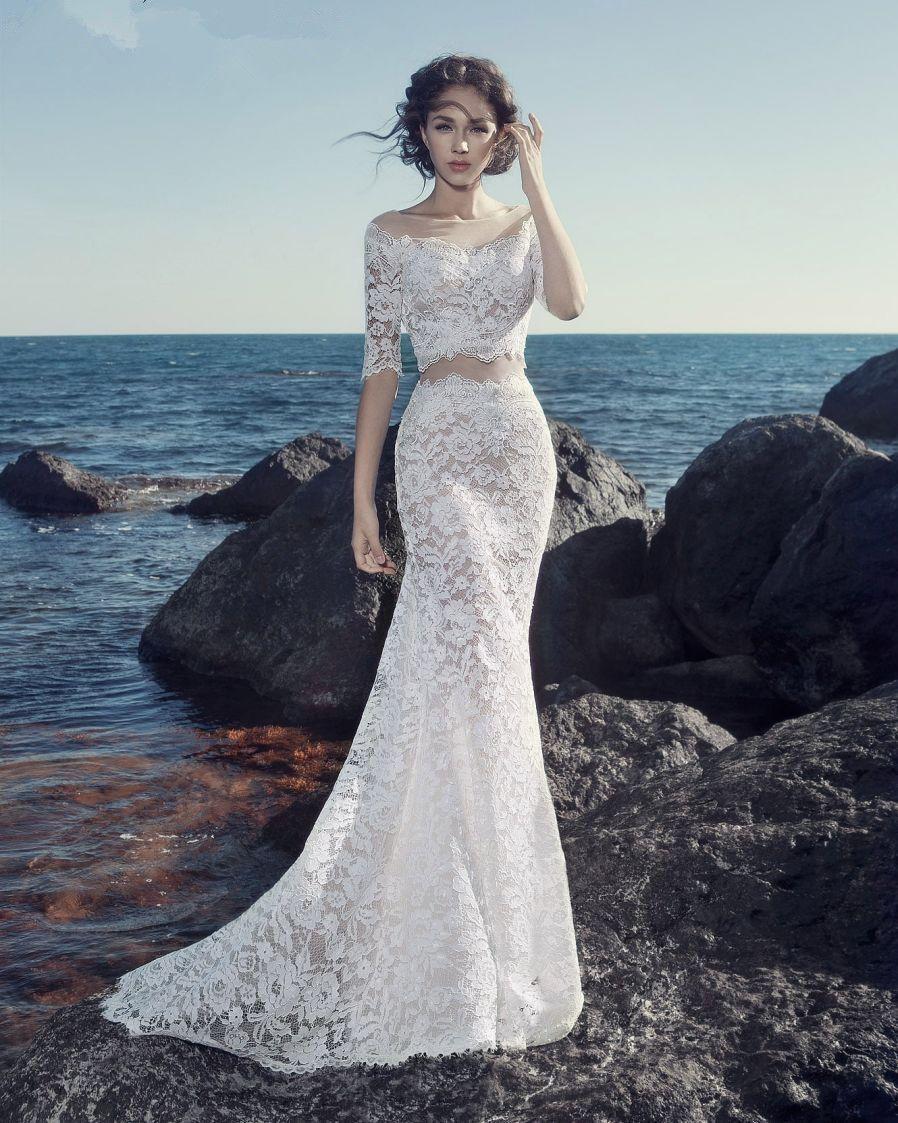 Whiteivory lace boho piece wedding dresses sexy beach two piece