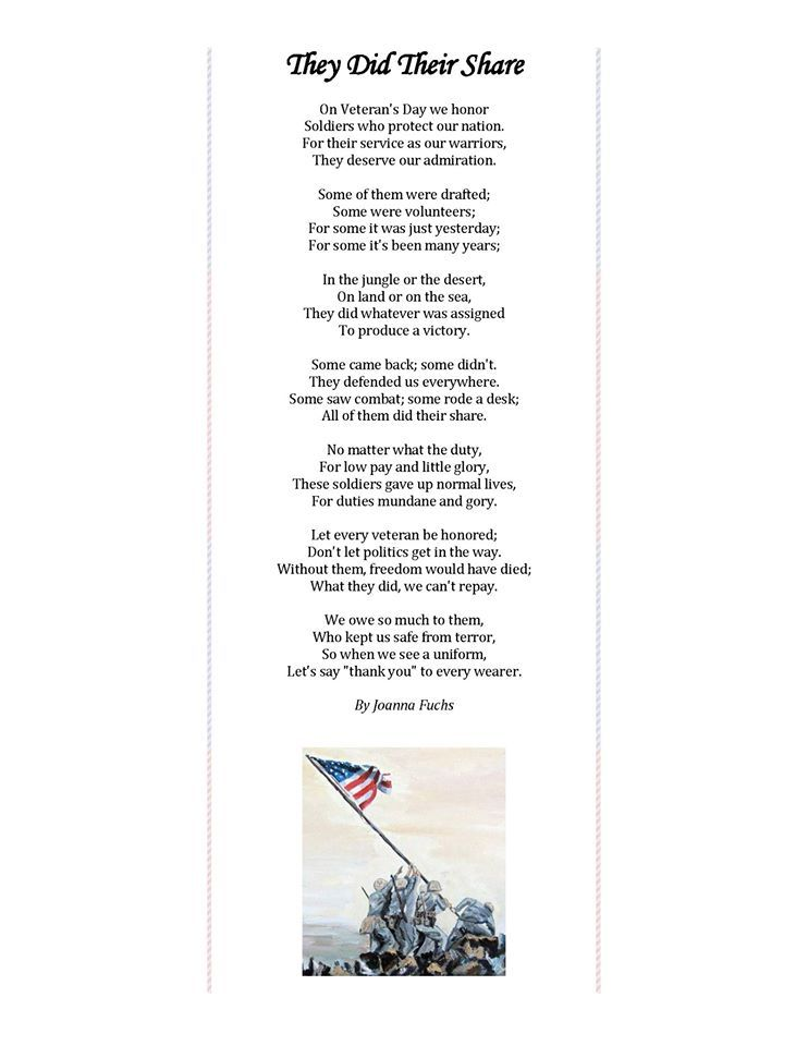 They Did Their Share By Joanna Fuchs Each Veteran Received A Copy Of This Poem With An American Flag Pin As A Small Veterans Poems Poems American Flag Pin