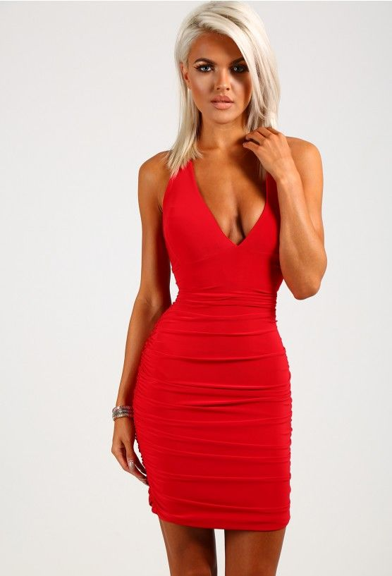1a1081047bb Becki Red Slinky Ruched Side Mini Dress
