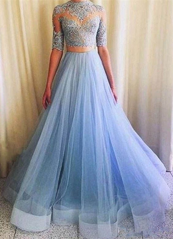 64433cd964 Elegant Two-Piece Mermaid Half Sleeves Blue Long Prom Dress with ...