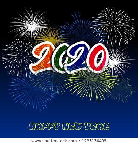 Happy New Year 2020 background with fireworks. Imagen de