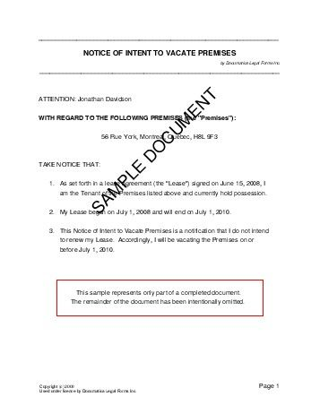 Sample 30 Day Notice To Vacate Printable Template Form Apartment