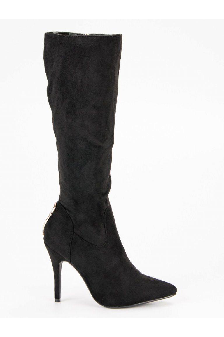 d4a210854146 Čierne čižmy pod koleno na ihlovom podpätku CM Paris