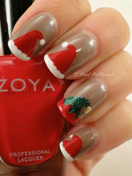 The reverse of this makes more sense, one Santa hat and the rest green elf  hats.cuz there's lots of elves and only one Santa haha! - Holiday Christmas Nails Pinterest Holidays, Gold And Winter Nails