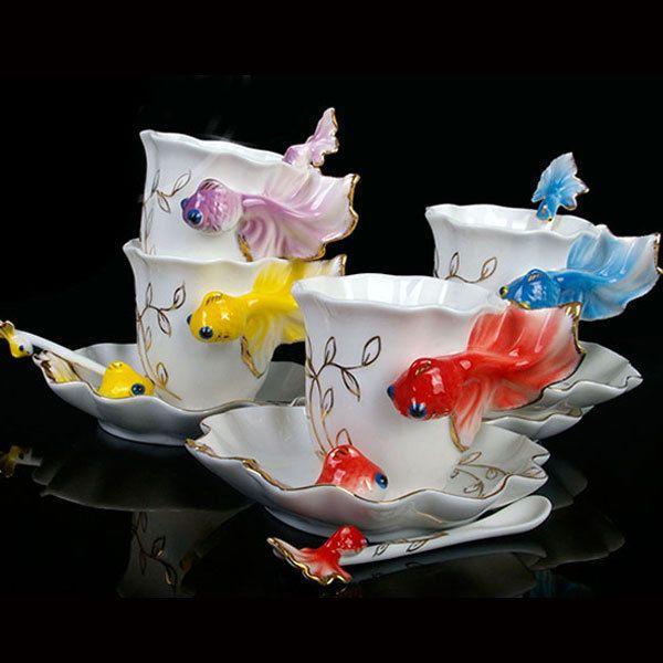 Porcelain Handmade China Goldfish Coffee Set Tea Set 1 Cup 1 Saucer 1 Spoon 874