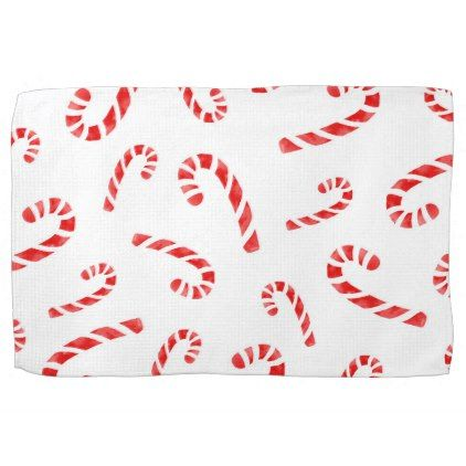 Watercolor Candy Cane Pattern Hand Towel  Red Gifts Color Style