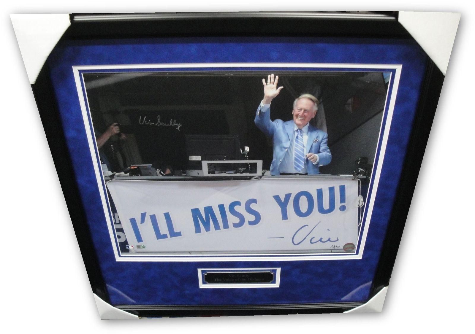 Vin Scully Signed Autographed 16X20 Photo I\'ll Miss You Last Game ...