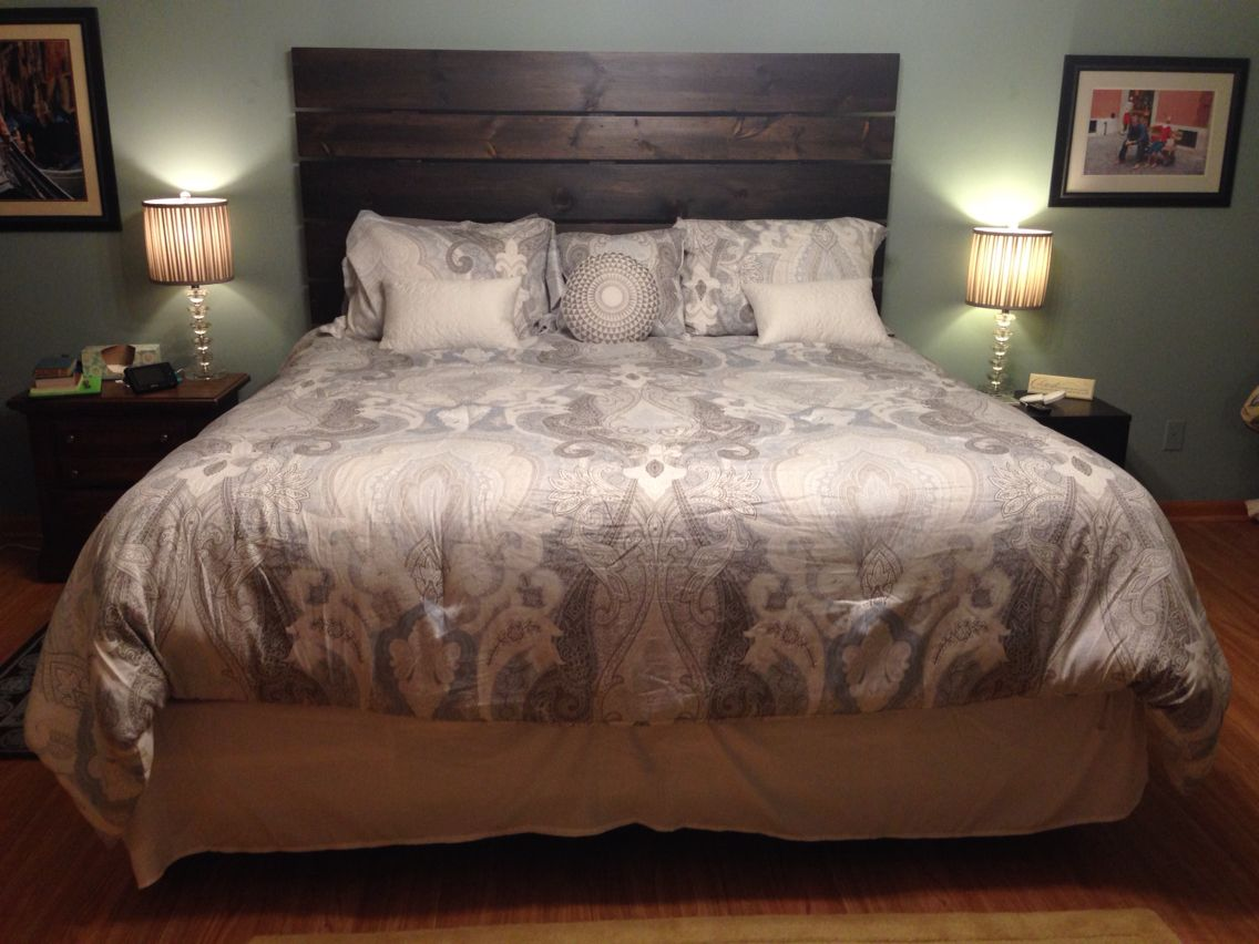 100 DIY headboard. Five 1x8 and two 1x6 boards screwed to