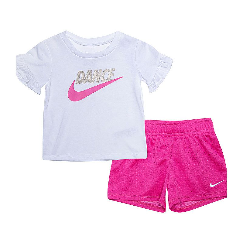 Nike 2 Pc Short Set Baby Girls Girl Sporty Outfits Crop Top And Shorts Kids Outfits