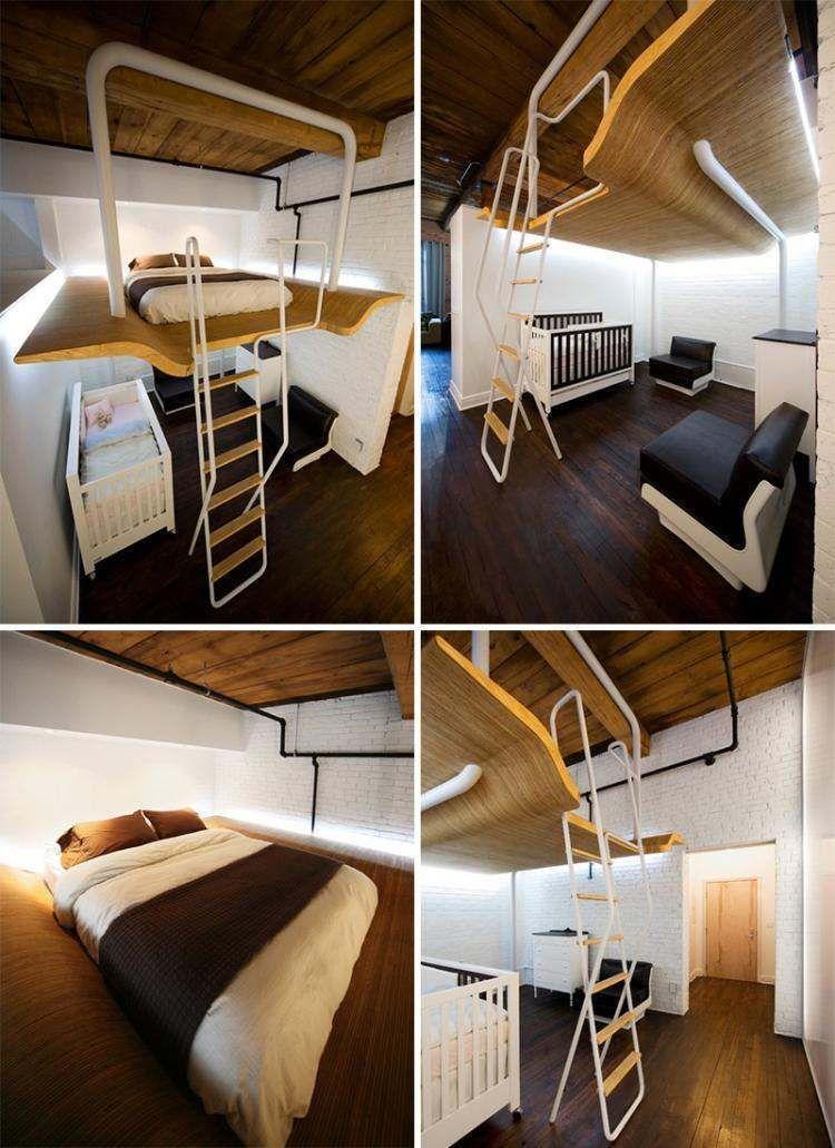 Lit Mezzanine Places Idées Gain De Place Chambre Adulte - Chambre adulte une place
