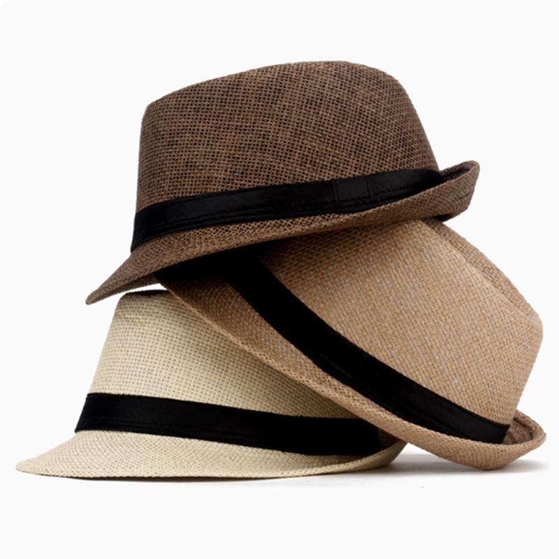 8dd64b0e05b Fashion Women Men Straw Fedora Hat Gentleman Beach Panama Sun Hat Gangster  Cap