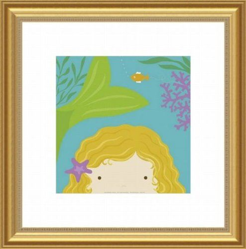 Printfinders Wall Decor by Yuko Lau, Peek A Boo Mermaid. Add that special touch to your nursery wall with this beautiful piece of custom framed art, designed to fit any decor. Gold Wood Frame with White Mat. Approximate Dimensions are 21 x 21.