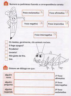 Atividades E Desenhos Tipos De Frases Exercícios Atividades 3 4