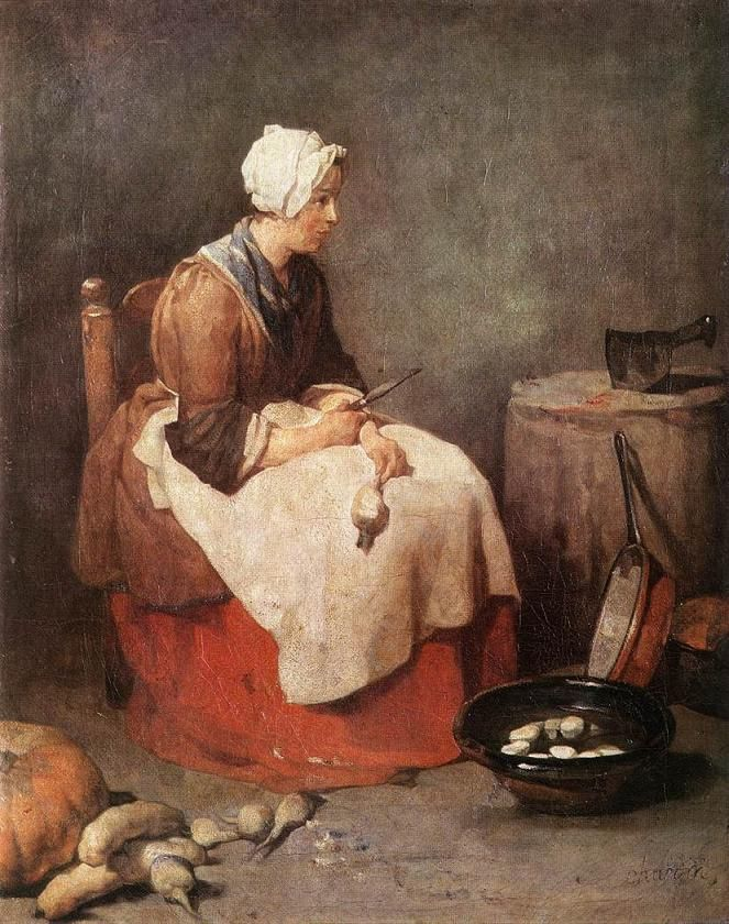 Jean Baptiste Simeon Chardin, The Kitchen Maid (surely one of the most exhausting, thankless jobs in domestic 18th Century France). LMB