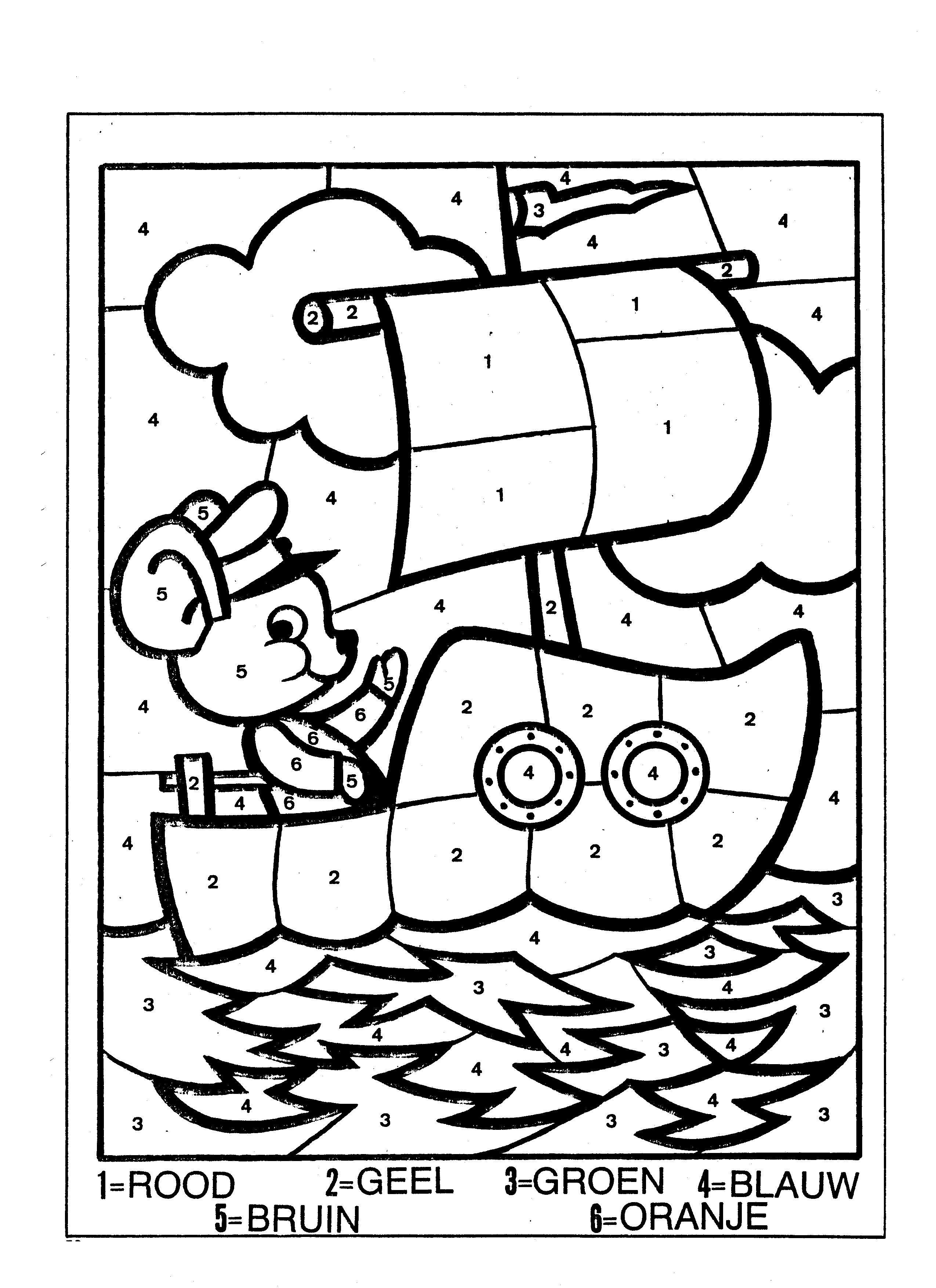 cijferkleurplaat muis op boot kleurplaten werkbladen
