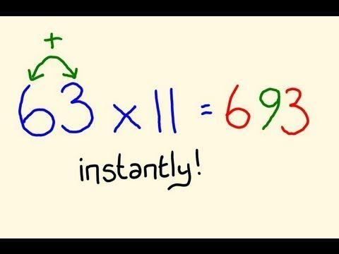 Fast Mental Math Tricks Multiply Any Two Digit By 11 Instantly With Images Mental Math Tricks Math Tricks Math