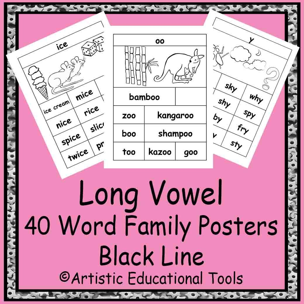 Long Vowel Rhyming Word Family Posters For 46 Word