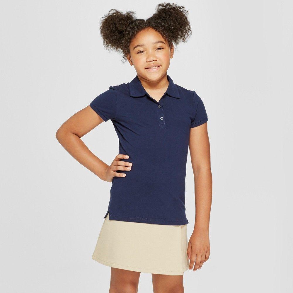 45e230a30 Girls' Short Sleeve Pique Uniform Polo Shirt - Cat & Jack Navy (Blue) XS