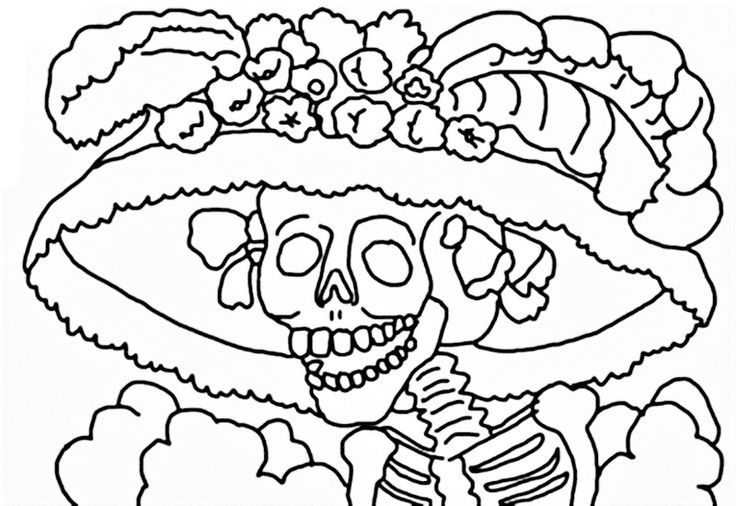 La Catrina para colorear Dia de los muertos Pinterest Dia de - copy dia de los muertos mask coloring pages