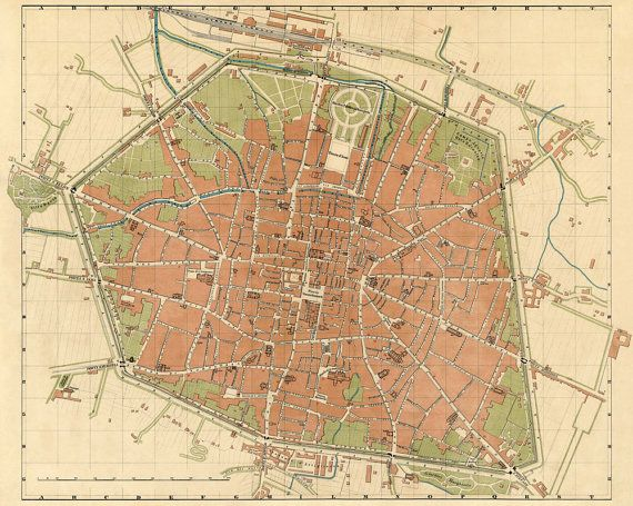 Vintage map of Bologna Bologna map Old map of Bologna print