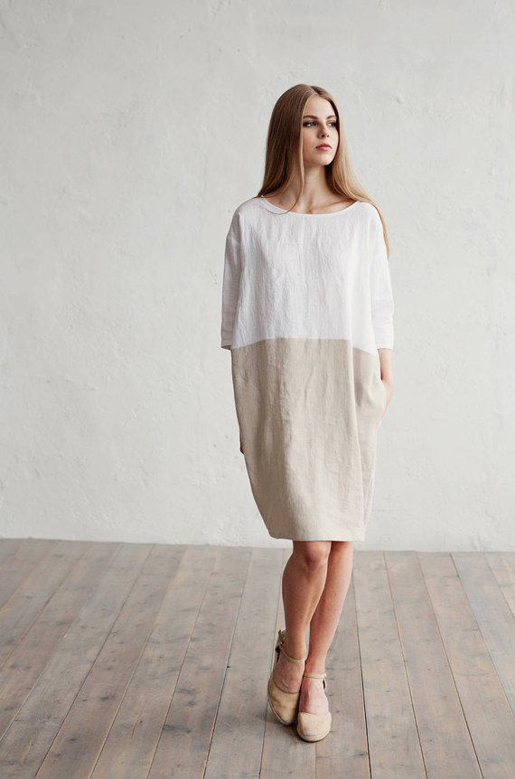 b786bca8be2 Color-block linen dress ADRIA. White and natural linen colors. Knee-length
